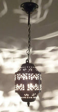 Load image into Gallery viewer, BR440 Moroccan/Egyptian Antique Style Cylinder Tin Hanging LED Lamp/Lantern