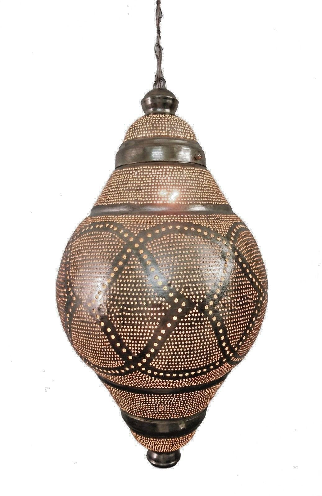 B265S Silver Plated Tin Mosaic Moroccan Home Decor Night Hanging Lamp