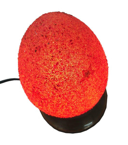 B75R New Raw Stone Texture Glass Egg Red Desk/Table Lamp Tin Base