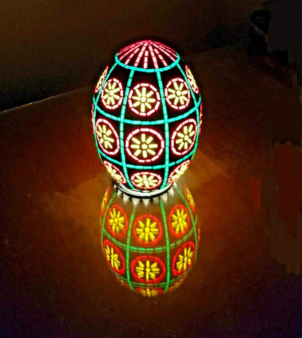 B127R Handcrafted Colored Glass Egg Mosaic Night Table/Pendant Lamp