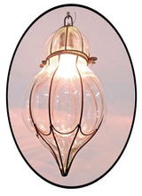 Load image into Gallery viewer, B278 Mouth-Blown Clear Glass Pumpkin Wrought Iron Hanging Lamp