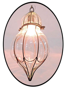 B278 Mouth-Blown Clear Glass Pumpkin Wrought Iron Hanging Lamp