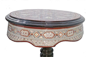 W147 Large Tall Round Mother of Pearl Inlay Beech Wood End Side Oriental Table