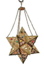 Load image into Gallery viewer, BR354 Handmade Brass Egyptian Moroccan Jeweled Star Pendant Hanging Lamp