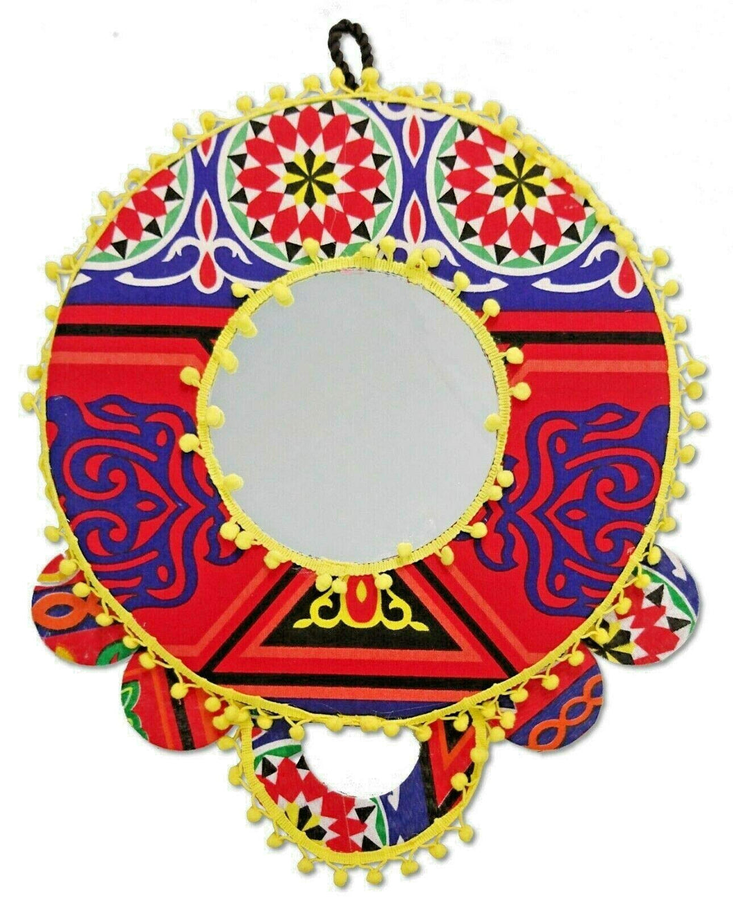 AA98 Ramadan Decoration Egyptian Round Fabric Wall Decor Mirror Frame