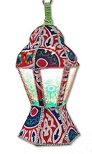 Load image into Gallery viewer, AA101 Egyptian Ramadan Tin Hexagonal Lantern Colored Glass Table/Hanging Lamp