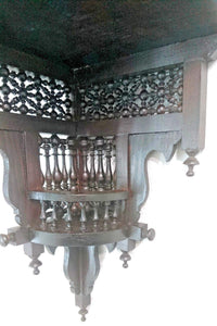 W61 Antique Style Arabian Wall Corner Double Shelf