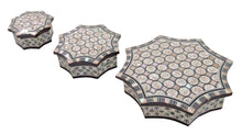 Load image into Gallery viewer, J77 Gorgeous Mother of Pearl Mosaic Egyptian Brown Jewelry Boxes Set of Three