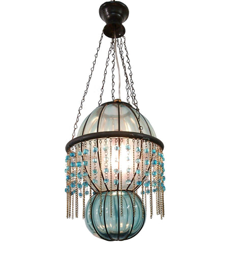 B290 Mouth-Blown Turquoise Glass Wrought Iron Beaded Chandelier Hanging Lamp