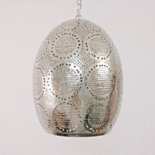 Load image into Gallery viewer, BR421 Tin Mosaic Globe Moroccan Silver Lampshade Hanging Lamp