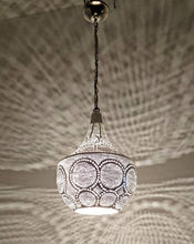 Load image into Gallery viewer, BR425 Silver Plated Tin Filigrain Oriental Hanging Cone Pierced LED Lampshade