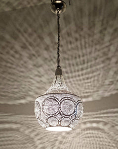 BR425 Silver Plated Tin Filigrain Oriental Hanging Cone Pierced LED Lampshade