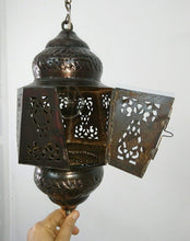 Load image into Gallery viewer, BR442 Moroccan/Egyptian Antique Style Handmade Tin Hanging LED Lamp/Lantern
