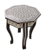 Load image into Gallery viewer, W156 Mother of Pearl Moroccan Corner Wood Octagonal Table Brown End Coffee