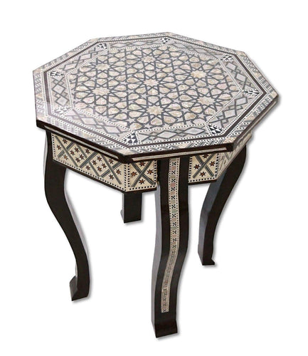 W156 Mother of Pearl Moroccan Corner Wood Octagonal Table Brown End Coffee