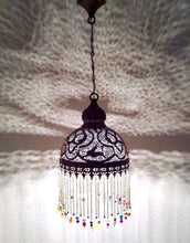 Load image into Gallery viewer, BR386 Handcrafted Beaded Moroccan Mosaic Hanging Brass Lampshade