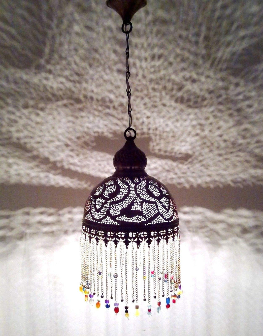 BR386 Handcrafted Beaded Moroccan Mosaic Hanging Brass Lampshade