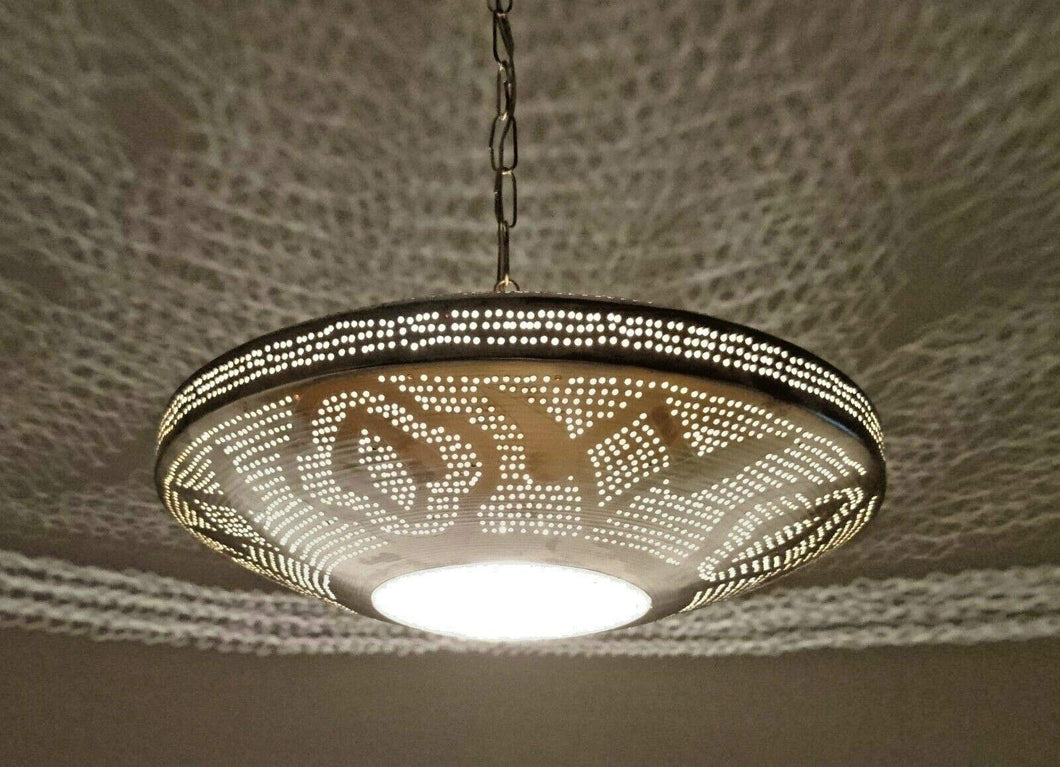 B294 Round Pie Tin Moroccan Silver Filigrain Lampshade LED Hanging Lamp