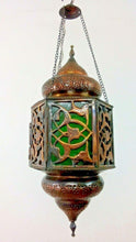 Load image into Gallery viewer, BR74 ORIENTAL Handmade Floral Cast Brass Hanging Lamp / Lantern