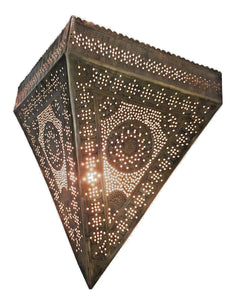BM9 Antique Moroccan Style Triangular Wall Sconce/Lamp with Frosted Glass