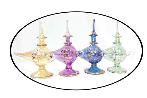 LW18 Pyrex Aladdin Genie Glass Mouth-Blown Egyptian Perfume Bottle LOT