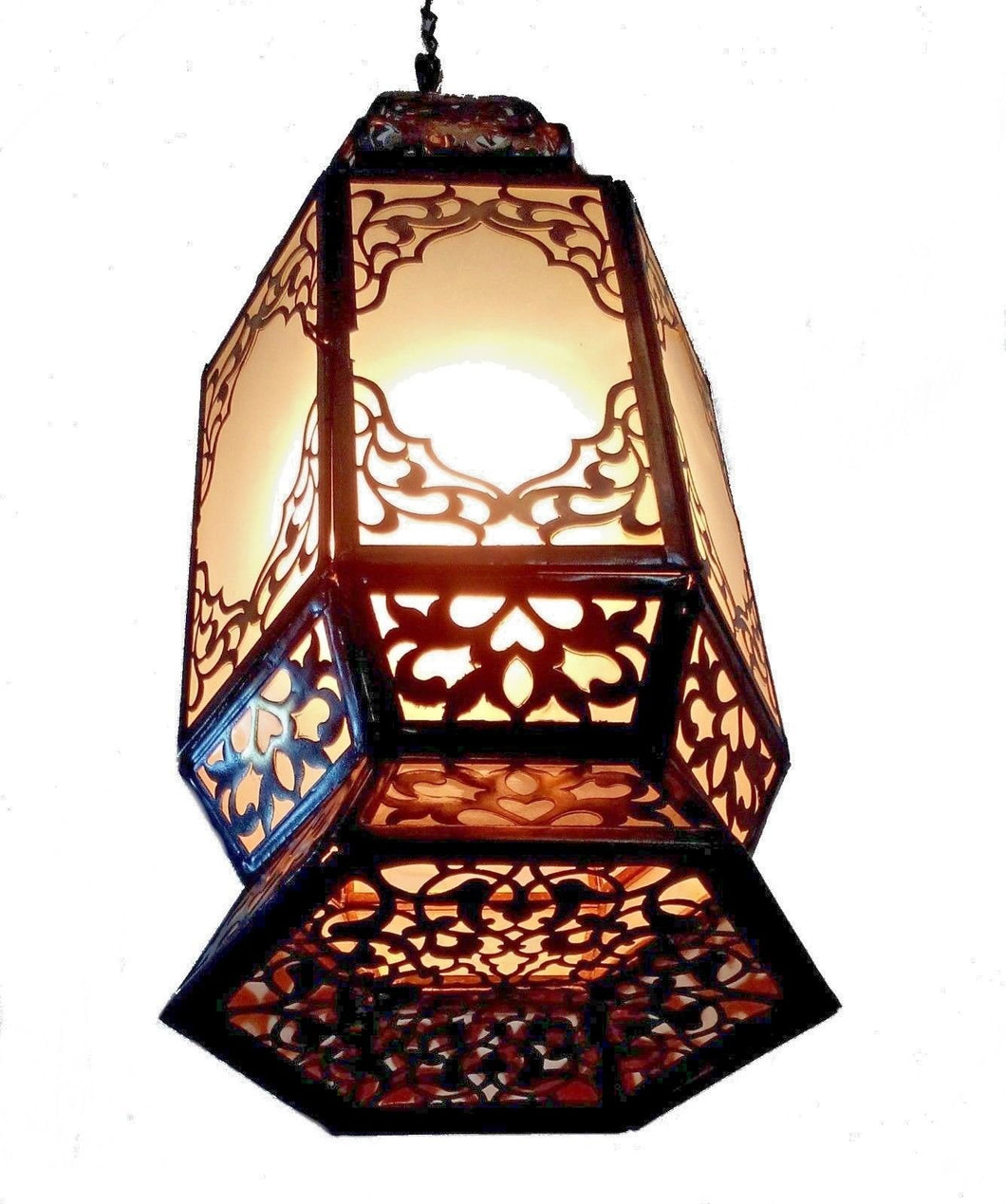 B221 Large Hexagonal Moroccan Lamp with White Frosted Glass