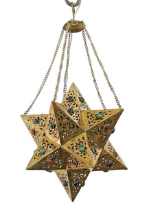 BR354 Handmade Brass Egyptian Moroccan Jeweled Star Pendant Hanging Lamp