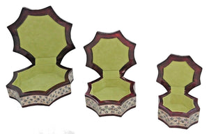 J77 Gorgeous Mother of Pearl Mosaic Egyptian Brown Jewelry Boxes Set of Three