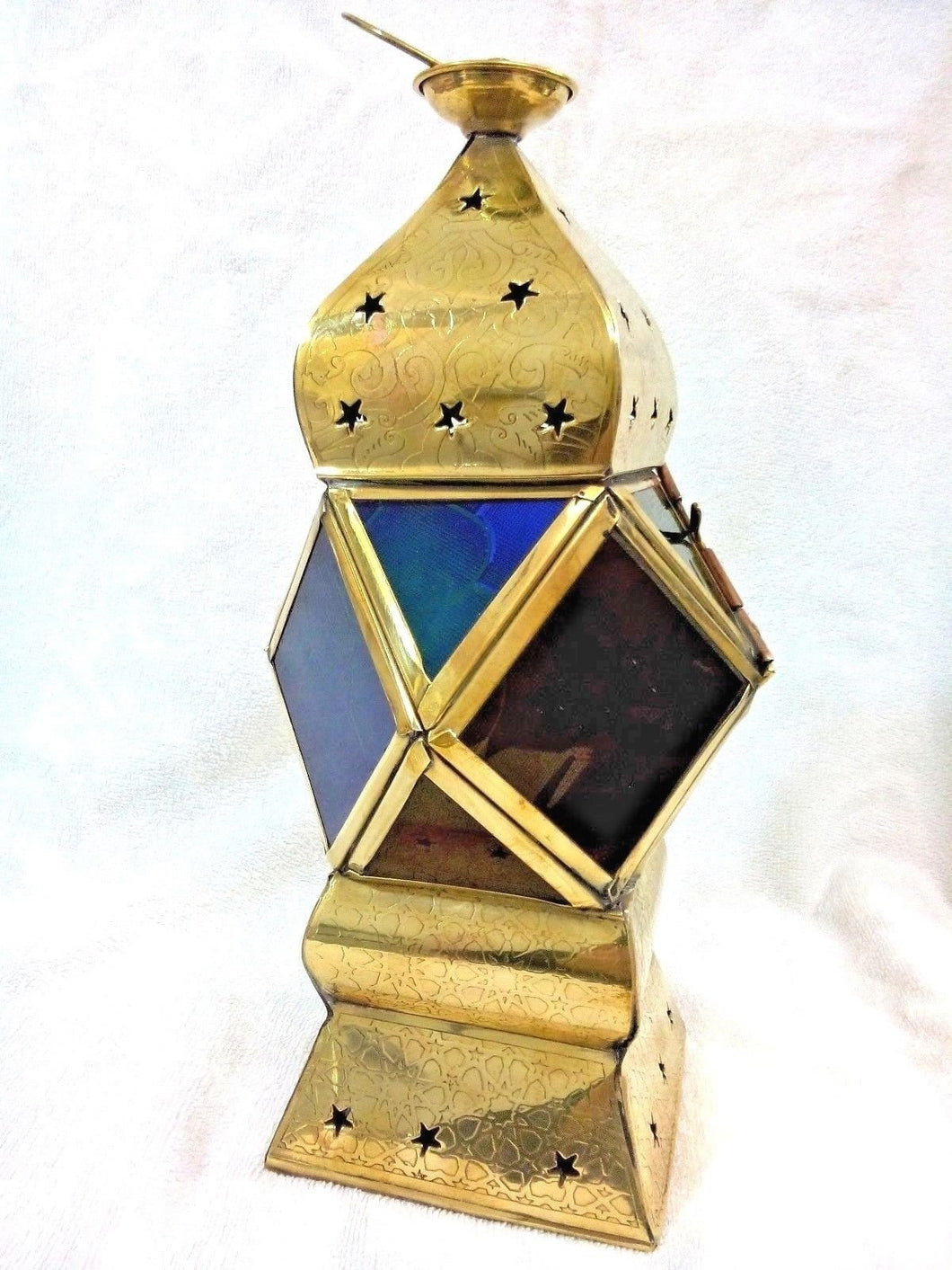 B202 Stylish Egyptian Square Ramadan Brass Lantern/Candle Holder