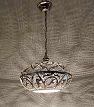 Load image into Gallery viewer, BR417 Round Pie Tin Moroccan Silver Lampshade Hanging Lamp