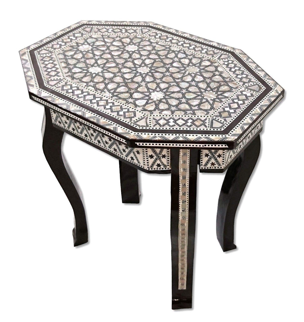 W158 Mother of Pearl Egyptian Corner Wood Octagonal Table Black End Coffee