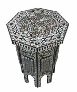 W95 Mother of Pearl Octagonal Corner Wood Table Arabesque End Coffee Trinket