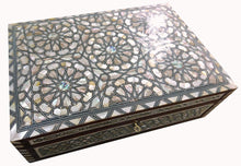 Load image into Gallery viewer, J80R XXL Mother of Pearl Mosaic Chest Egyptian Rectangular Jewelry Box