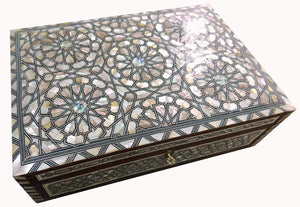 J80R XXL Mother of Pearl Mosaic Chest Egyptian Rectangular Jewelry Box
