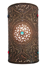 Load image into Gallery viewer, BR411 Handmade Moroccan Cylinder Brass Wall Decor Jeweled Sconce