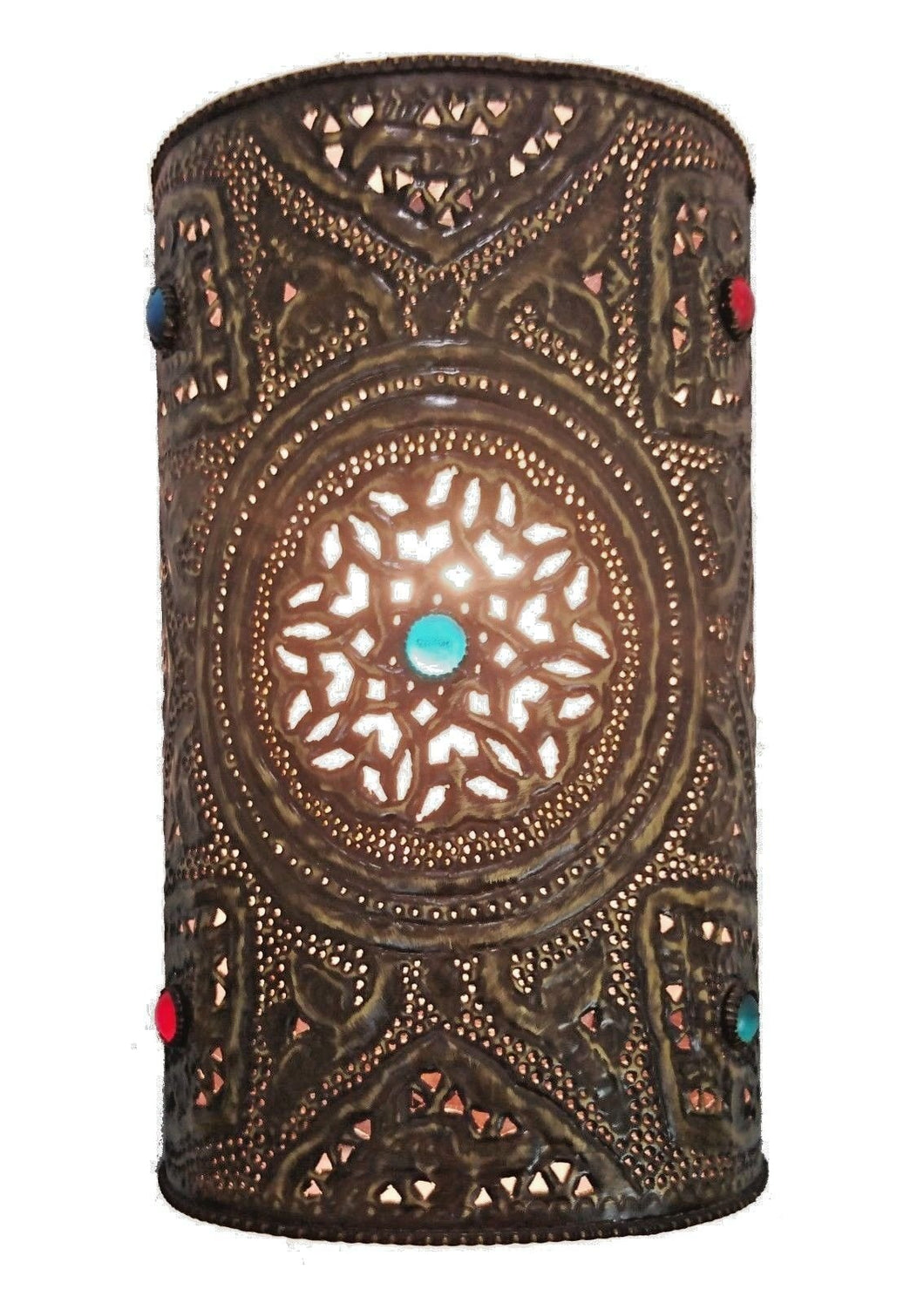 BR411 Handmade Moroccan Cylinder Brass Wall Decor Jeweled Sconce