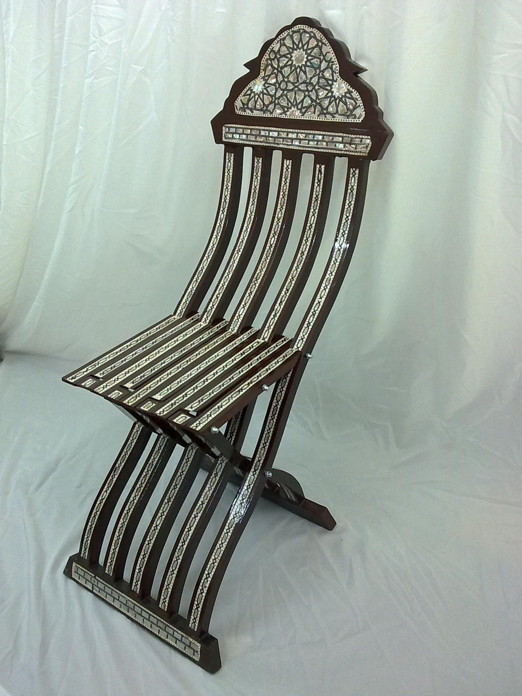 W15B Gorgeous Mother of Pearl Inlaid Folding Wood Brown Chair