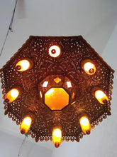 Load image into Gallery viewer, BR125 Old Arabian/Islamic Style Pendant Chandelier Amber Glass Shades