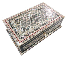 Load image into Gallery viewer, J87 Mother of Pearl Mosaic Trinket Egyptian Rectangular Velvet Jewelry Box