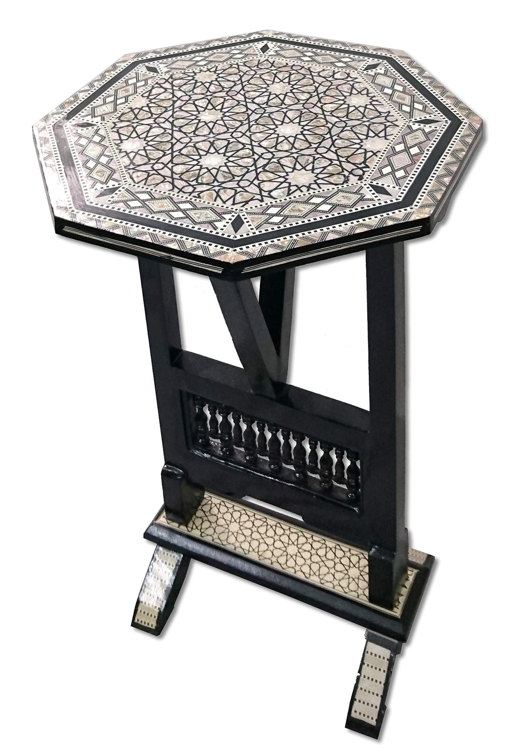 W113 Black Mother of Pearl Egyptian Folding Wood Octagonal End Coffee Table