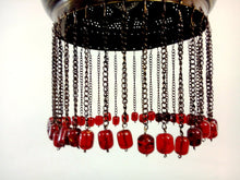 Load image into Gallery viewer, BR338 Elegant Pierced Brass Pendant Oriental Lampshade RED Beads
