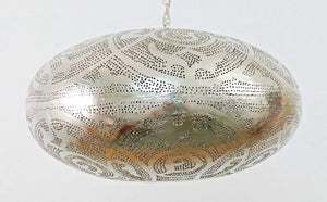 BR418 XL Large Round Pie Tin Moroccan Silver Lampshade Hanging Lamp