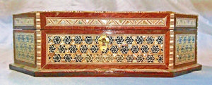 J70 Gorgeous Mother of Pearl Mosaic Trinket Octagonal Egyptian Chest Jewelry Box