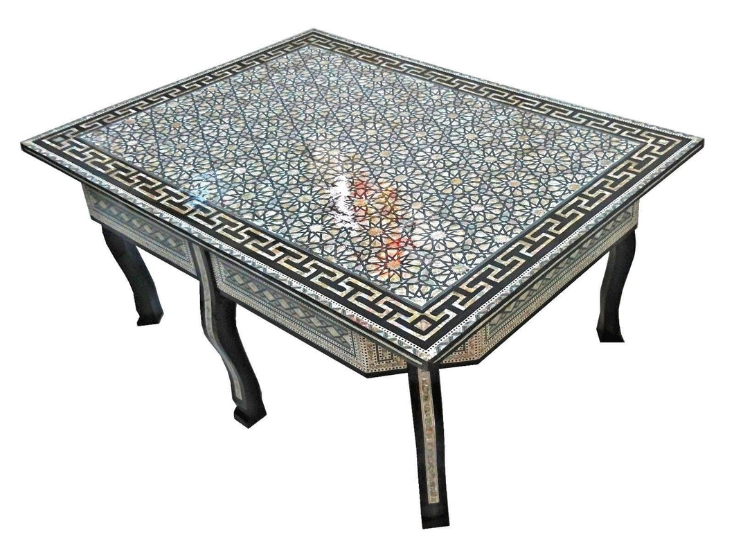 W116 Large Mother of Pearl Egyptian Wood Rectangular Table Brown End Coffee
