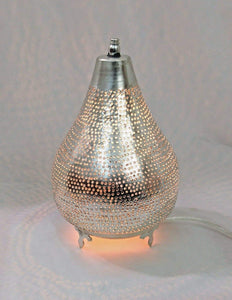 BM14 Silver Plated Moroccan Living Room Home Decor Filigrain Night Table Lamp