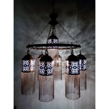 Load image into Gallery viewer, BR372 Antique Style Handmade Brass Ring 9 Down Light Large Moroccan Chandelier