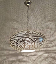 Load image into Gallery viewer, BR418 XL Large Round Pie Tin Moroccan Silver Lampshade Hanging Lamp