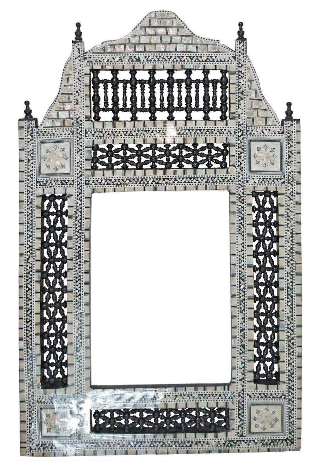 W107 Black Arabesque Mother of Pearl Wood Mirror Rectangular Frame