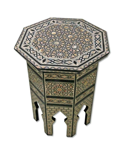W112 Mother of Pearl Octagonal Corner Wood Table Arabesque End Coffee Trinket
