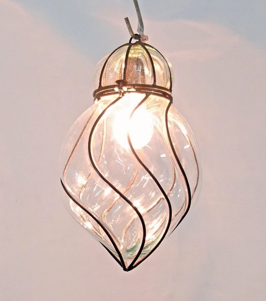 B277 Mouth-Blown Clear Glass Spiral Wrought Iron Hanging Lamp